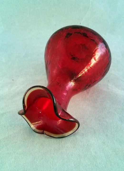 Ruby Red Amberina Crackle Glass Vase Blown 1960s The 7 Hills