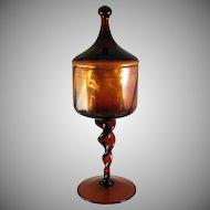 Tall Empoli Italian Blown Glass Apothecary Jar Dark Amber Mid Century Modern circa 1960's