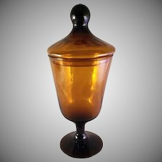 Empoli Italian Blown Glass Apothecary Jar Honey Brown Mid Century Modern circa 1960's