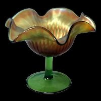 Northwood Iridescent Marigold Smooth Ray Carnival Glass Compote marked