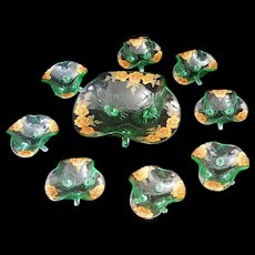 Venetian Glass Green Berry bowl and 8 small bowls hand painted Italy c1955 - 9 pieces