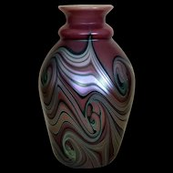 Early Orient and Flume Lavender Swirled Art Nouveau Vase signed 1976