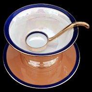 Noritake Navy Blue Gold Band Peach Lusterware Condiment Bowl Plate & Ladle c1920