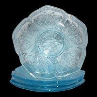 Rare Vallerysthal 1907 Glass Flower Petal Aqua Dessert Plate Set #3618 EAPG