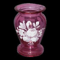 Mary Gregory Cranberry Glass mini Vase with Rose Bouquet
