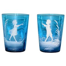 Bohemian Mary Gregory Boy and Girl Blue Tumbler set c1880