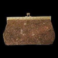 Vintage Copper Beaded Gold Floral Evening Bag with optional short strap