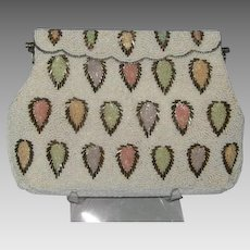 Vintage Off White and Multicolor Leaf Beaded Silver Self Clasping Evening Bag
