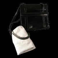 Vintage Charles Jourdan of Paris Black Leather Handbag from late 1960's Made in Italy