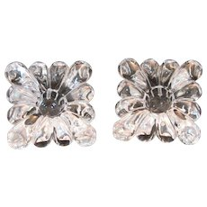 Elegant Heisey Crystolite set of 2 Square Taper Candle Blocks