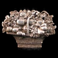 NGA NATIONAL GALLERY OF ART Sterling Signed Basket of Fruit Pin Brooch