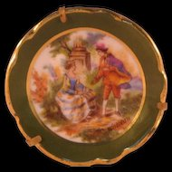 Victorian Style Whatteau Small Plate Brooch Pin Man Woman in Garden Made in Limoges France by De Perce PQ