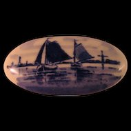 Vintage Delft Blue Pin with Sailboats and Windmills in the distance Made in Holland