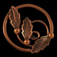 Vintage Bell Copper Round Brooch Pin - 3 Leaf Design Mid-Century Marked