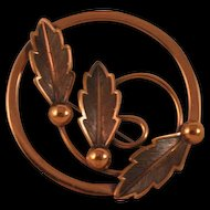 Vintage Bell Copper Round Brooch Pin - 3 Leaf Design Mid-Century Marked
