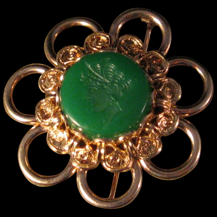 Green Etched 1920 S Lady Pin Brooch