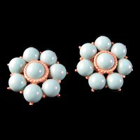 """Vintage Trifani Clip on Earrings Round - Goldtone with Aqua Glass Cabochons 1"""" - Marked"""