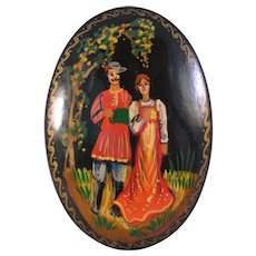 Russian Black Lacquer Brooch Pin Folk Couple Scene hand painted