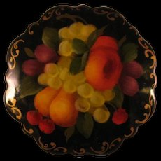 Russian Black Lacquer Fruit Bouquet Round Brooch Pin - Hand Painted and Signed