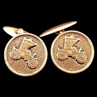 Rare Antique Brass Runabout Automobile Car Cuff Links or Vest buttons