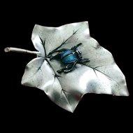 Sterling Silver Blue bug on Leaf Pin Brooch artist made 1960's