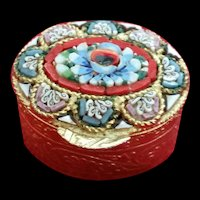 Vintage Micro Mosaic round Tile small Pill box Flower Italy