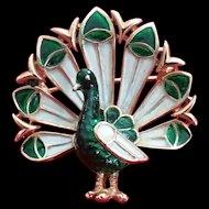 Vintage Trifari green Enamel Peacock bird pin brooch 1970's