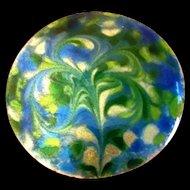 Aqua Blue Green Enamel on Copper Pin 1970's Signed Inga