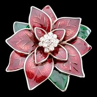 Vintage Costume Jewel Enamel Poinsettia Pin with Rhinestones c1960's