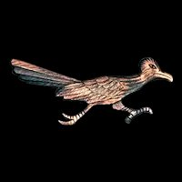 Vintage Copper Southwestern Road Runner Pin