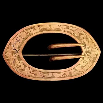 Antique Art Nouveau Oval Sash buckle Pin Brooch by E.A. Bliss Company 1890's