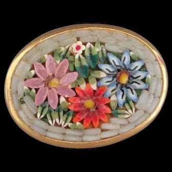 Vintage Blue, Mauve and Orange Floral Micro Mosaic Pin brooch Italy