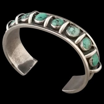 Native American Sterling Silver Turquoise Cuff Bracelet V. Bebo