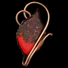 Matisse Renoir Enamel on Copper Leaf Brooch – Mixed Red Abstract Signed