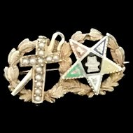 Rare Antique 14k Gold pin White Shrine of Jerusalem and Eastern Star 1906