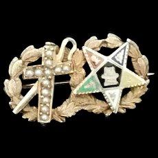 Rare Antique 14k Gold pin White Shrine of Jerusalem and Eastern Star 1906