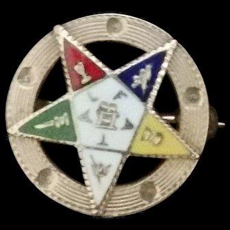 14 kt Order of the Eastern Star Enamel pin Mid Century 1950's