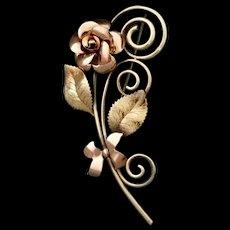 Krementz Single Rose 2 tone gold Brooch or Pin c1950