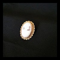 10k Gold Cameo Shell Brooch c1940