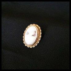 10k Gold Cameo Shell Brooch c1940