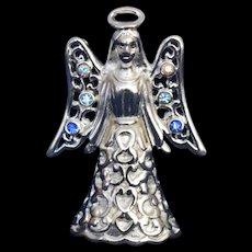 Trifari Silver Tone Angel Blue Rhinestones Pendant Brooch Signed 1997