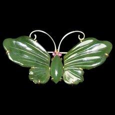 Butterfly 14K Gold Jade Ruby Eye Pin Brooch