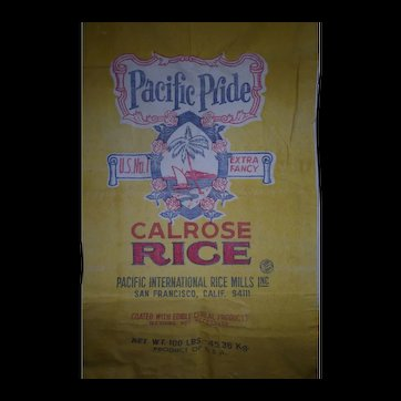 Vintage c1960's Pacific Pride Calrose 100 lb Rice Sack from San Francisco