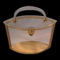 Vintage Majestic Lucite Clear w Gold Trim Oval Purse Pocketbook