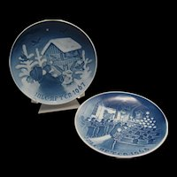 2 Bing & Grondahl 1967 & 1968 Blue and White Christmas Plate - Signed