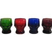 4 Cambridge Georgian Glass Tumblers Classic Water Goblet - Red, Blue, Green and Purple
