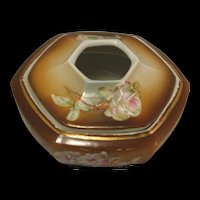 Vintage Porcelain Painted Roses Brown Hexagon Hair Receiver marked MZ Austria (Moritz Zdekauer)