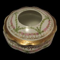 Vintage Porcelain Hair Receiver Round White Gold Pink Green Marked MZ Austria and US Eagle