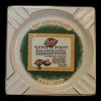 Rare Large Vintage 1956 Breyers Ice Cream 90th Anniversary Ashtray 23k Gold by Salem
