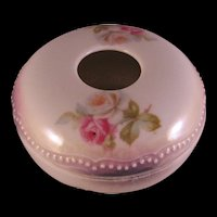 P K Silesia Floral Roses Lusterware Hair Receiver - Beaded Lid Made in Germany (1914-1922)